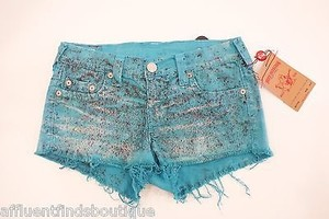 True Religion Bobby Cut Off Shorts Turquoise