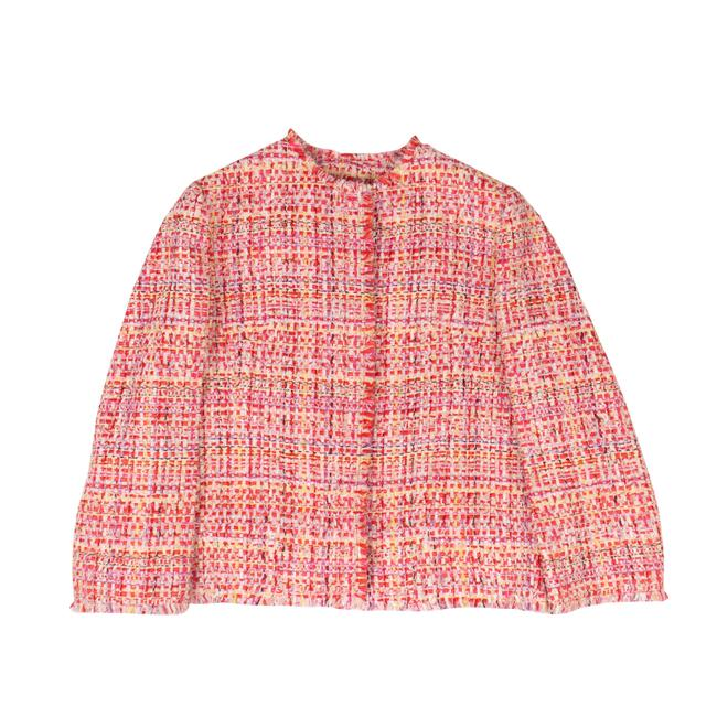 Item - Red/Pink Tweed Cropped Jacket Size 8 (M)