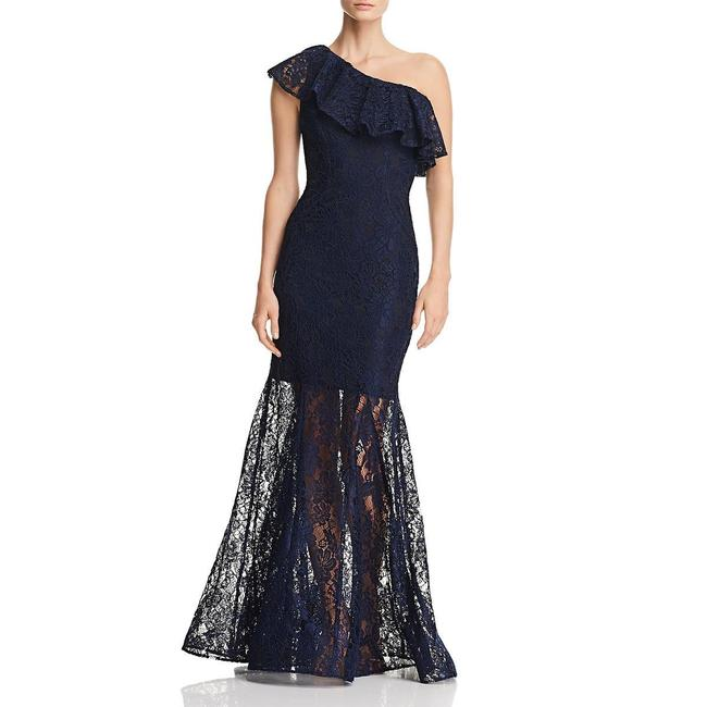 Item - Navy G Lace One Shoulder Evening Long Formal Dress Size 0 (XS)