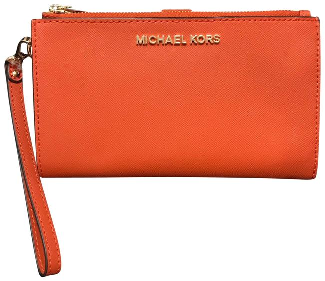 Michael Kors Orange Leather Lg Double Zip Wristlet Wallet Michael Kors Orange Leather Lg Double Zip Wristlet Wallet Image 1
