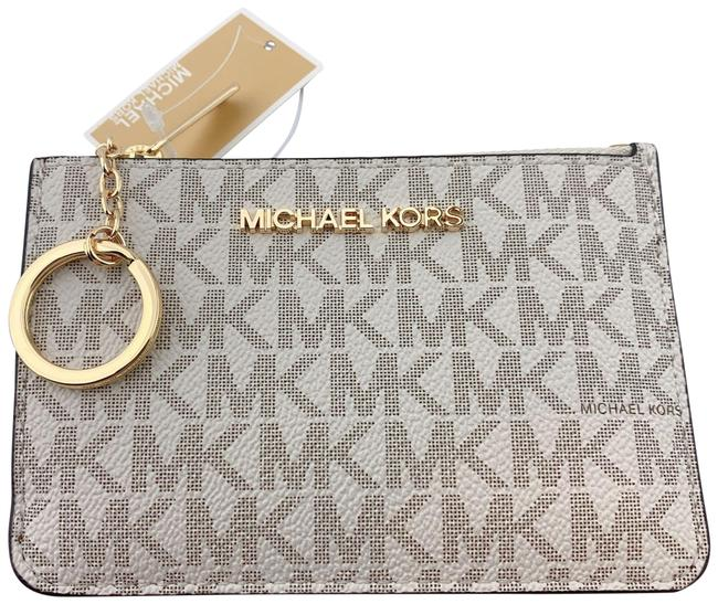 Michael Kors Jet Set Travel Coin Key Chain Card Holder Wallet Vanilla Leather Wristlet Michael Kors Jet Set Travel Coin Key Chain Card Holder Wallet Vanilla Leather Wristlet Image 1