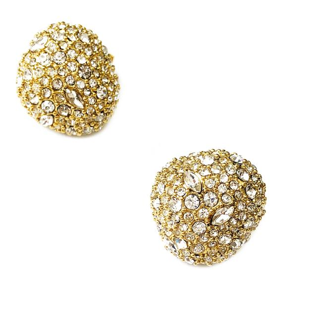 Item - Gold Crystal Encrusted Button Stud Earrings