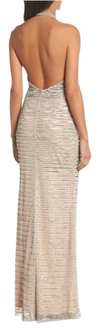 Item - Silver Nude Mesh Halter Long Formal Dress Size 8 (M)