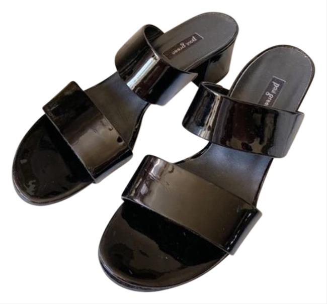 Item - Black Meg Womens Strappy Heel Sandal Patent Mules/Slides Size US 9 Regular (M, B)