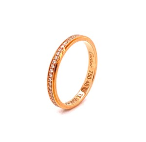 Cartier Diamond D'amour 18k Pink Gold Band Ring Size 48