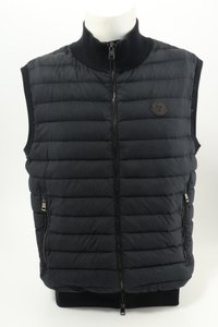 Moncler Navy Blue Men's Maglia Quilted Tricot Gilet Shirt