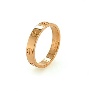 Cartier Mini Love 18k Pink Gold 3.6mm Band Ring Size 52