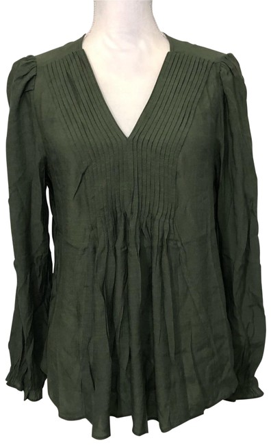 """Item - Green Olive """"prairie Sage"""" Pintucked V Neck Long Sleeved Blouse Size 10 (M)"""