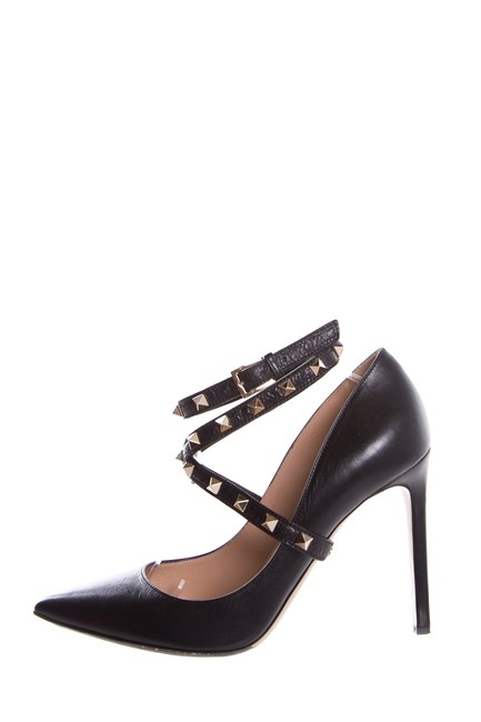 Item - Black Rock-stud Leather Pumps Size EU 39.5 (Approx. US 9.5) Regular (M, B)