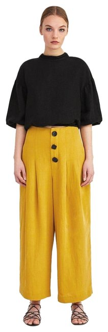 Item - Yellow Mustard Pleated Button Trousers Pants Size 2 (XS, 26)