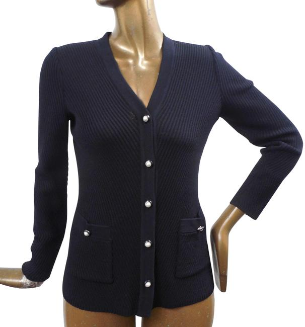 Item - Black P Ribbed Knit Cardigan Sweater Pearl Buttons Jacket Size 0 (XS)