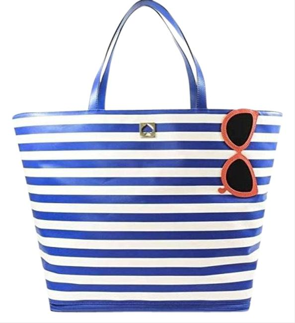 Item - New York Rey Make A Splash Sunglasses Wkru3721 Blue/White Stripes Leather Tote Blue/White Canvas Beach Bag