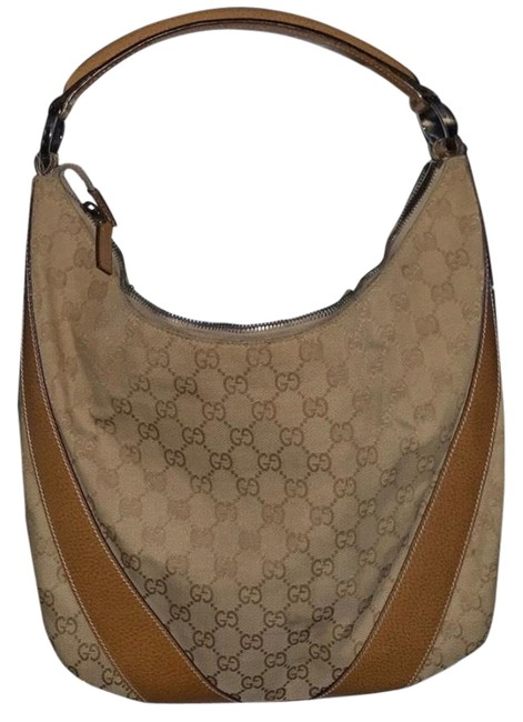 Item - Tan Brown Leather Handle and Fabric Canvas Hobo Bag