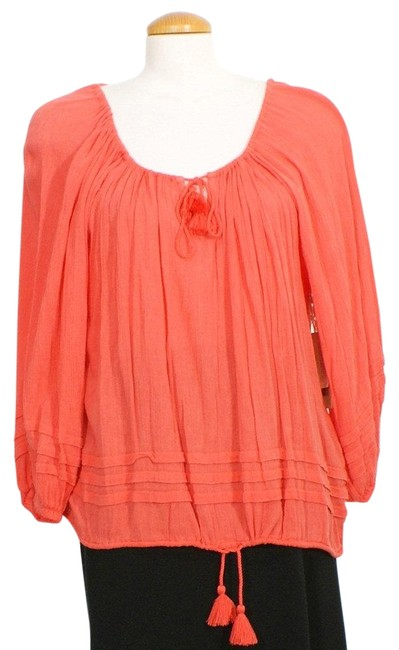 Item - Red Pleated Cotton Blend Gauze Peasant M Blouse Size 10 (M)