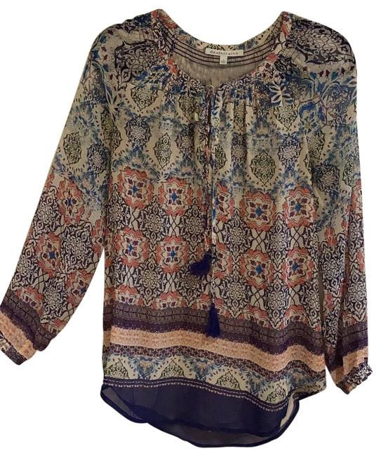 Item - Multicolor Long Sleeve Tassel Blouse Size 6 (S)
