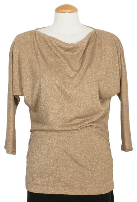 Item - Gold Metallic Knit Draped Neck Tunic M Blouse Size 10 (M)