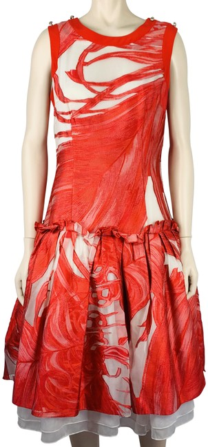 Item - Red White & Silk Organza Mid-length Cocktail Dress Size 8 (M)