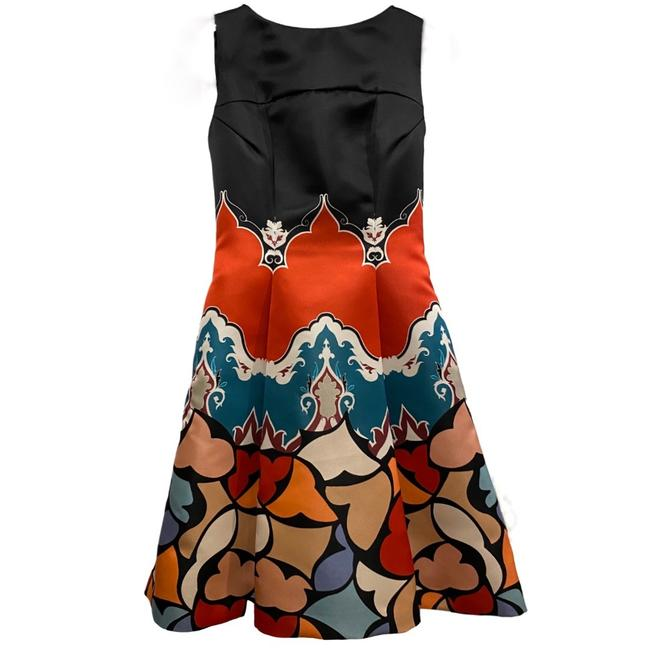 Item - Black & Multicolor Sleeveless Print Fit Flare Mid-length Work/Office Dress Size 4 (S)