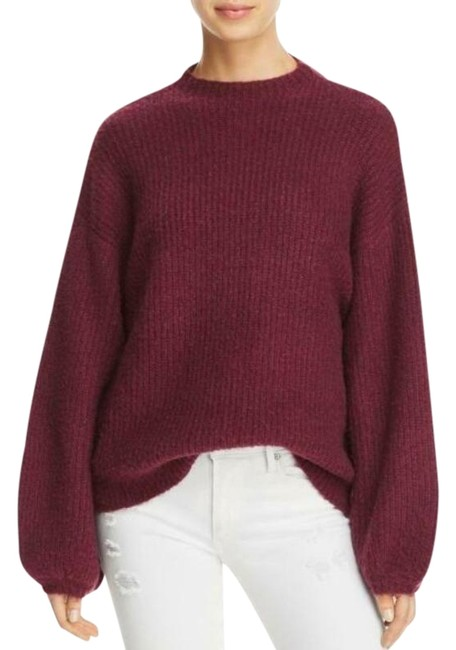 Item - Plum Balloon Sleeves Ribbed Sweater