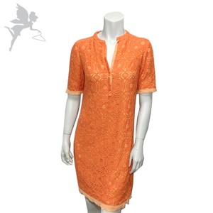 Just Taylor short dress Orange and Yellow Lace Shirt Snap Lilly Pulitzer Lined on Tradesy