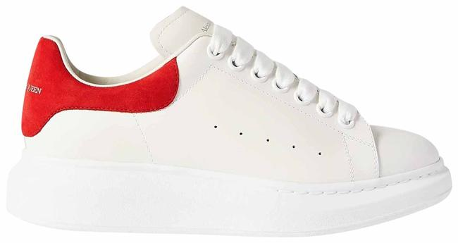 Item - White and Red Eu37/Us7 Women's Oversized Leather Sneakers Size EU 37 (Approx. US 7) Regular (M, B)