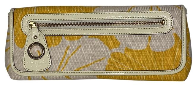 Item - Bloomington Mirra Yellow & White Canvas Clutch