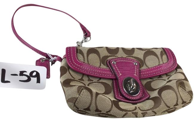 Item - Legacy Signature Flap Wristlet Brown/Pink Cloth/Leather Clutch