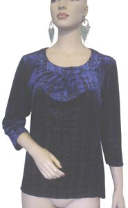 TanJay Black 3/4 Sleeve Top Blue