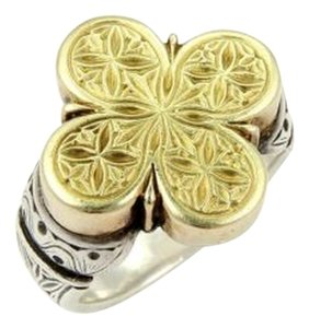 Gerochristo Vintage 18k Yellow Gold Sterling Silver Engraved Floral Top Ring