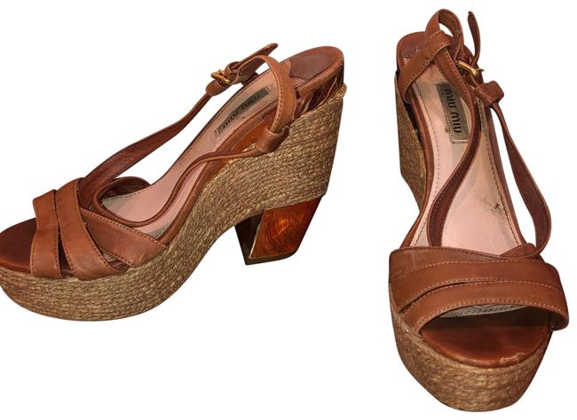 Item - Brown and Gold Leather & Trim Chunky Sandals Wedges Size US 7.5 Regular (M, B)