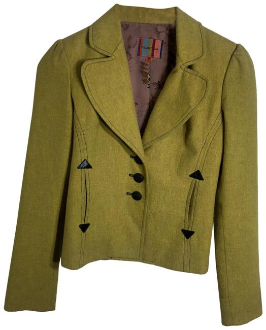 Item - Yellow Wool with Leather Details Blazer Size 2 (XS)