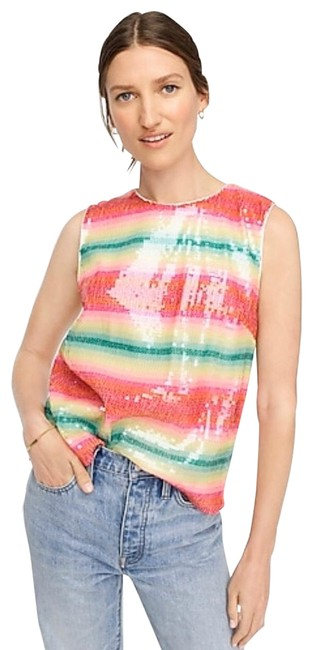 Item - Red/Green/Multi Sleeveless In Watermelon-stripe Sequins Tank Top/Cami Size 6 (S)