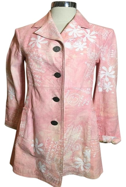 Item - Pink & White Floral Hand Painted Jacket Size 4 (S)