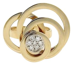 Estate 18k Yellow Gold Circular Spinning Ring With Diamonds On Top -size 6.25