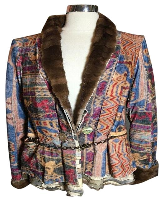 The People Of The Labyrinths Brown Blue Fur Trim Southwest Jacket Size 8 (M) The People Of The Labyrinths Brown Blue Fur Trim Southwest Jacket Size 8 (M) Image 1