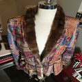 The People Of The Labyrinths Brown Blue Fur Trim Southwest Jacket Size 8 (M) The People Of The Labyrinths Brown Blue Fur Trim Southwest Jacket Size 8 (M) Image 2