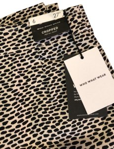 Who What Wear x Target Capri/Cropped Pants beige with oval black design
