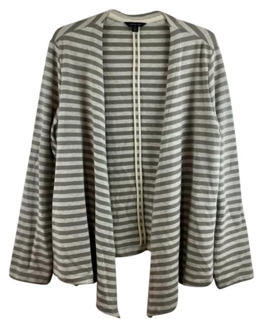 Item - White & Gray L Striped Open Front Long Sleeves Cover Up Blouse Size 12 (L)