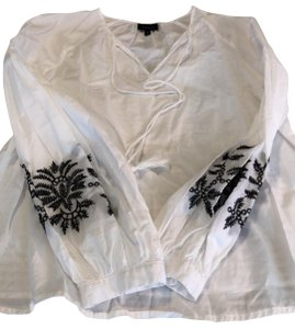 Who What Wear x Target Top White cotton black embroidered long sleeves