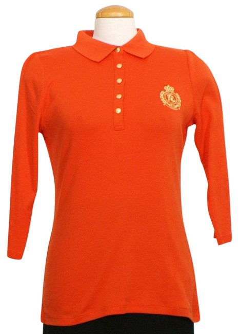 Item - Orange Embroidered Crest Cotton Polo Pl Blouse Size Petite 12 (L)
