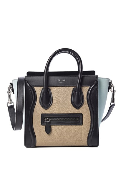 Item - Nano Tricolor Black Beige and Baby Blue Leather Cross Body Bag