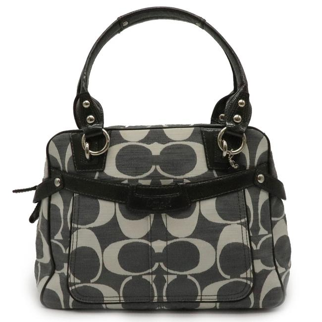 Item - Signature Penelope Shantin Tote 13286 Charcoal Gray / Gray / White Canvas / Patent Leather Shoulder Bag