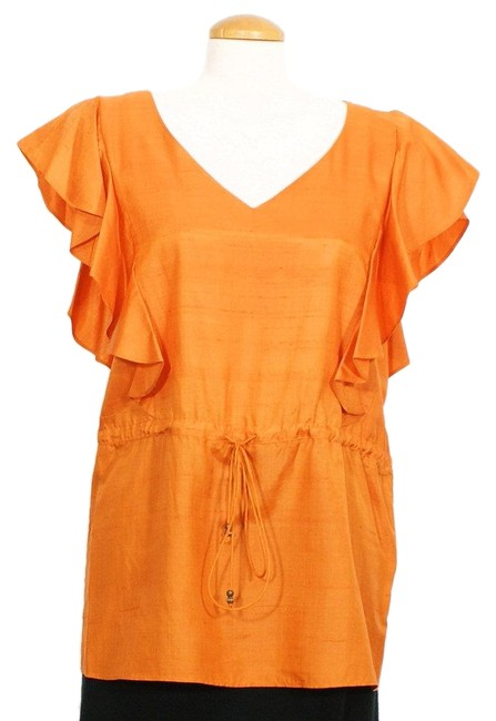 Item - Orange XL Silk Shantung Drawstring Ruffle Sleeve Tunic Size 16 (XL, Plus 0x)
