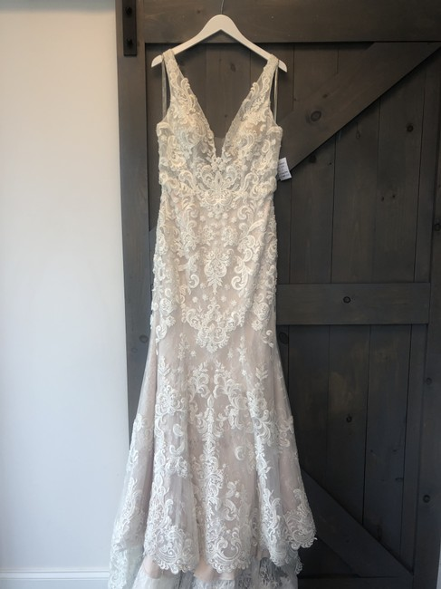 Item - Ivory/Taupe Lace H1378 Sexy Wedding Dress Size 10 (M)