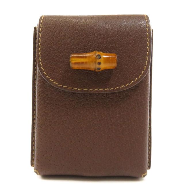 Item - Brown 039 281 Playing Card Case Bamboo Leather Unisex Wallet