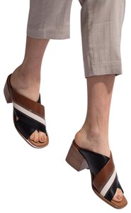 Brunello Cucinelli Stackheel Black/Brown/White Sandals
