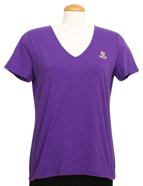 Item - Purple L Embroidered Logo Cotton T-shirt Tee Shirt Size 12 (L)