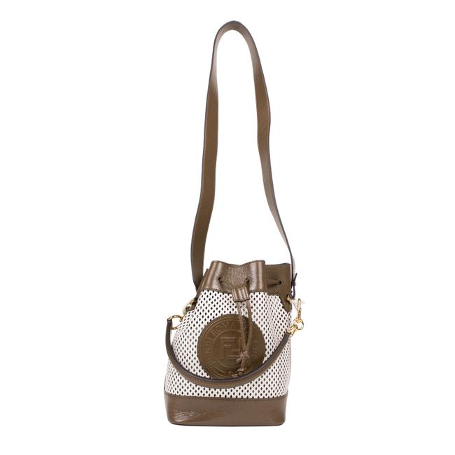 Item - Bucket 'mon Tresor' Small Brown and White Leather Shoulder Bag
