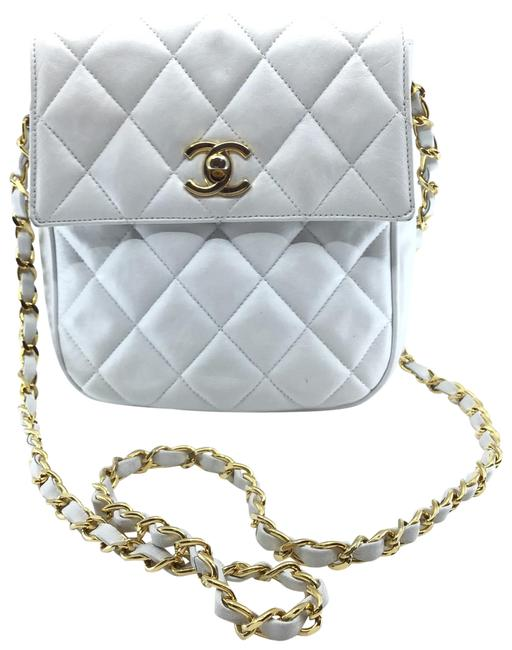 Chanel Quilted Flap Top White Leather Cross Body Bag Chanel Quilted Flap Top White Leather Cross Body Bag Image 1
