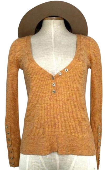 Item - Orange Silver Ribbed Button Up Chest Blouse Size 12 (L)